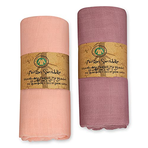 Swaddle Blankets,Soft Muslin Swaddle Blankets for Girls & Boys, Baby Receiving Swaddles,47 x 47 inches,2 Pack Baby Swaddles Wrap (Pink+Purple)