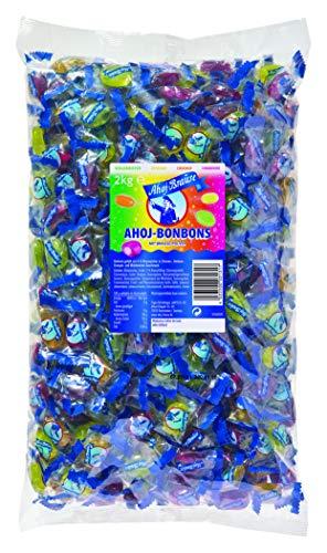 Ahoj-Brause Ahoj-Bonbons Beutel – Ahoj-Bonbons mit Brausefüllung - 4 verschiedene Geschmacksrichtungen: Himbeere, Orange, Zitrone und Waldmeister - 1-er Pack (1 x 2 kg)