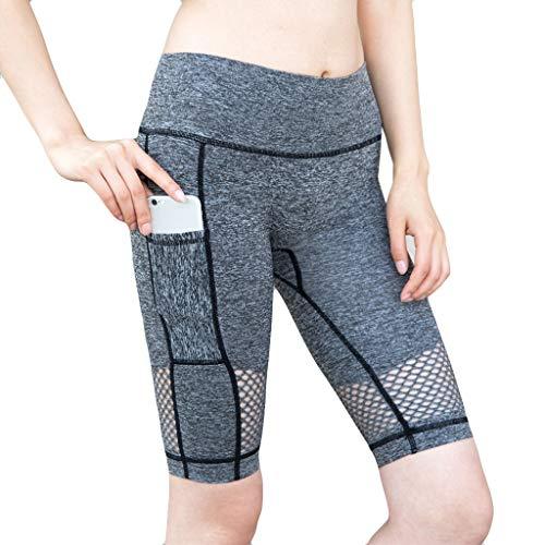 URIBAKY - Pantalones de Yoga de Cintura Alta para Fitness, Pantalones de Yoga de 5 Minutos Gris 34 ES/M