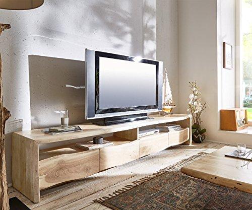 DELIFE Fernsehtisch Live-Edge Akazie Gebleicht 230 cm 4 Schubkästen Baumkante Lowboard
