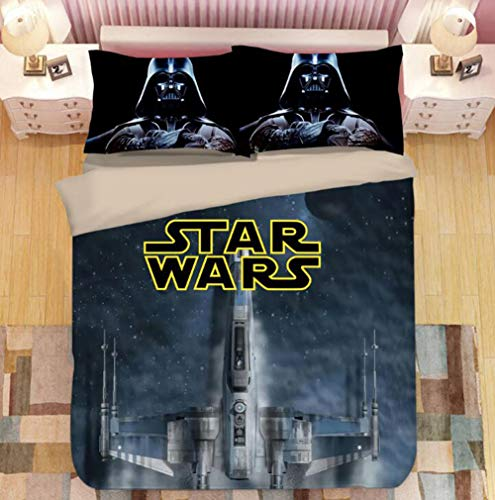 KJGLXD Duvet Cover Set Three-Piece Star Wars 3D Printed Linen Set, Digital Printed Quilt Cover,Decorative Bedding Set with 2 Pillowcase,F,Full