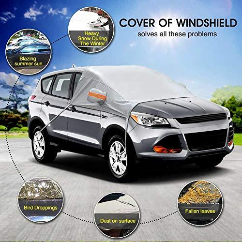 Huien Autovoorruit met spiegels Sneeuwkap Winter Autovoorruit Zonneschermbeschermer L XL voor bestelwagen SUV's Vrachtwagens, L
