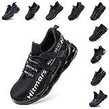 Zapatos de Seguridad Hombre Mujer Zapatillas de Trabajo con Punta de Acero Ligeros Calzado de Industrial y Deportivos Sneaker Negro Azul Gris Número 36-48 EU Blanco 39