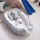 Fascol Nido Bebe Recien Nacido de Algodón Orgánico para Bebé 0 a 12 Meses, Cuna Nido Bebe con Almohada, Portátil, Transpirable y Lavable, Gris