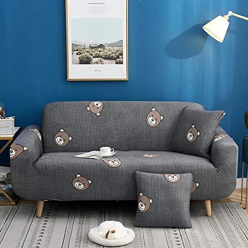 NLADTWLSD Funda de sofá de Alta Elasticidad, impresión Fundas para Sofa Antideslizante Cubierta para Sofa Protector para Sofás Lavable para el Salón (3 Asiento,Gris)