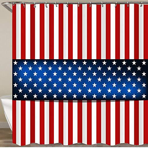 KGSPK Cortinas de Ducha,Bandera Americana para el día de la Independencia,Impermeable Cortinas Baño y Lavables Cortinas Bañera 180x180CM