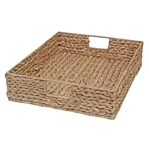 Casa Furnishings Wicker Shallow Storage Basket, Tray Display, Water Hyacinth (X Large - L 46 x W 36 x H 10 cm)