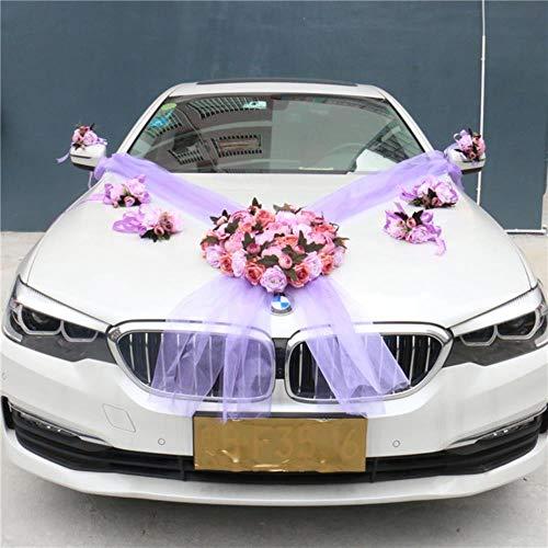 1 set Kunstbloem Bruiloft Auto Decor Kit Romantische Zijde Nep Roos Pioen Bloemen Valentijnsdag Cadeau Feest Festival Benodigdheden, 04 (8 stuks)