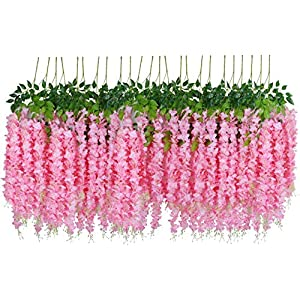 Shiwaki 110cm/43inch Artificial Wisteria Flower Violet Ceiling Flower Vine Wedding Background Home Decoration-Long Pink 12 Branches