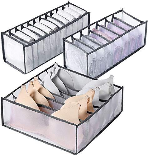 Jieyunran Unterwäsche Aufbewahrungsbox Schrank und Schubladen Ordnungssystem Nylon Schubladen Kleiderschrank Veranstalter Mit 6 7 11 Gittern für BH Unterwäsche Büstenhalter Socken Schals (Grau)
