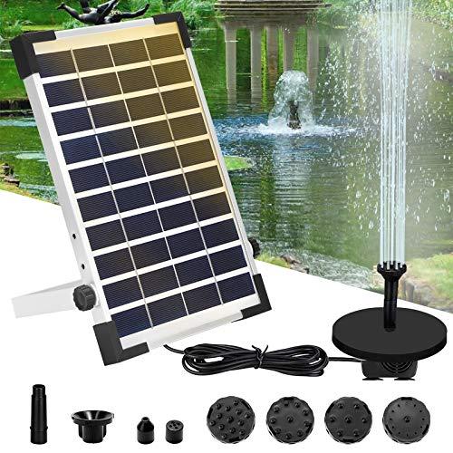 Vingtank 6W Solar Springbrunnen Pumpe, Solar Teichpumpe Kit Solarbrunnen Wasserpumpe Set Solar Schwimmender Fontäne Pumpe mit 6 Fontänenstile für Gartendekoration/Fisch-Behälter/VogelBad/Pool