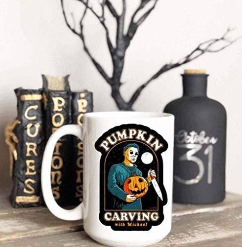 OceanPrint Pumpkin Carving with Michael Women Men Coffee Tea Cups Mugs