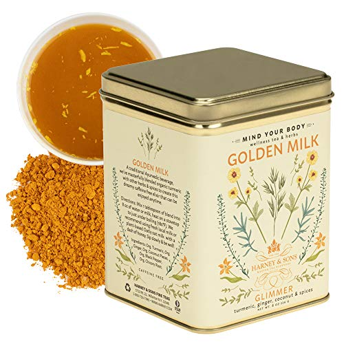 Harney & Sons Golden Milk Powder Tea with Turmeric, Ginger, Coconut & Spices, 8 oz loose