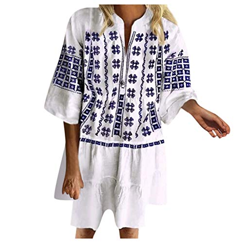 Mode Robe Été Femme Casual Manches Longues Imprimée Bohème Chemise Col en V Robe Chemise Coton et Lin pour Femme