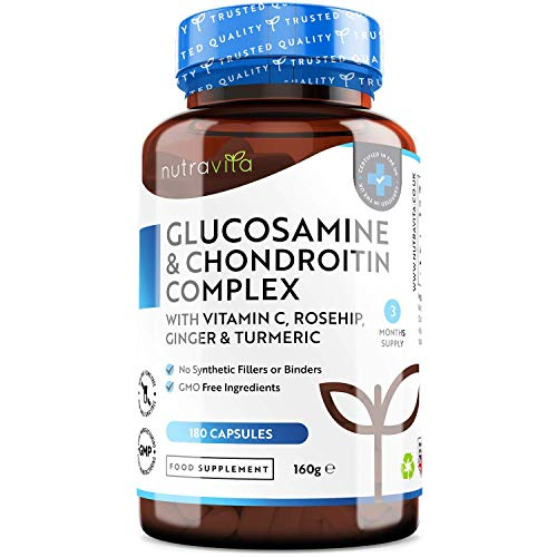 Glucosamine and Chondroitin Complex – 180 High Strength Capsules – Contributes to The Maintenance of Normal Immune System – with Vitamin C, Turmeric, Ginger and Rosehip – Made in The UK by Nutravita