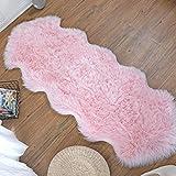 ZCZUOX Faux Schaffell Teppich, Faux Lammfell-Teppich Lang Kunstfell Schaffell Imitat Faux Bett-Vorleger Oder Matte für Stuhl Sofa for Wohnzimmer Schlafzimmer (Rosa, 60x160cm)