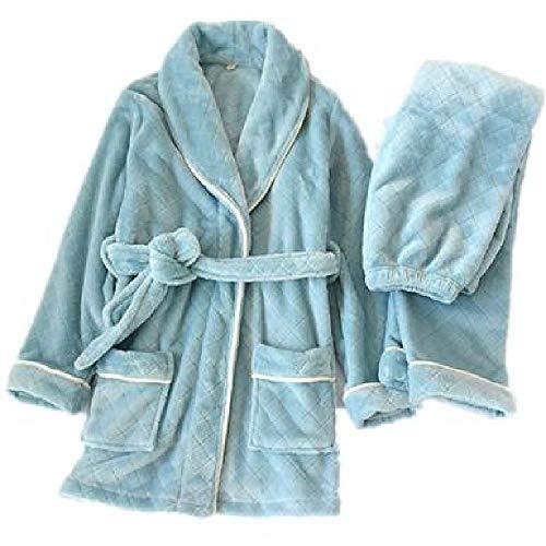 SKJKT Damen Flanell-Bademantel/Hosen Set mit Diamant-Kimono, Bademantel aus Coral-Fleece, warm, dick, lang, Hausanzug, Winter-Loungewear für Frauen Gr. Medium, blau