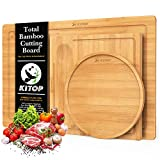ORGANIC BAMBOO CHOPPING BOARD–Start your cook with the highest quality of natural bamboo cutting board, safe with eco-friendly properties,100% BPA free and made without formaldehyde or any chemicals elements. End grain bamboo wood cutting board is ha...
