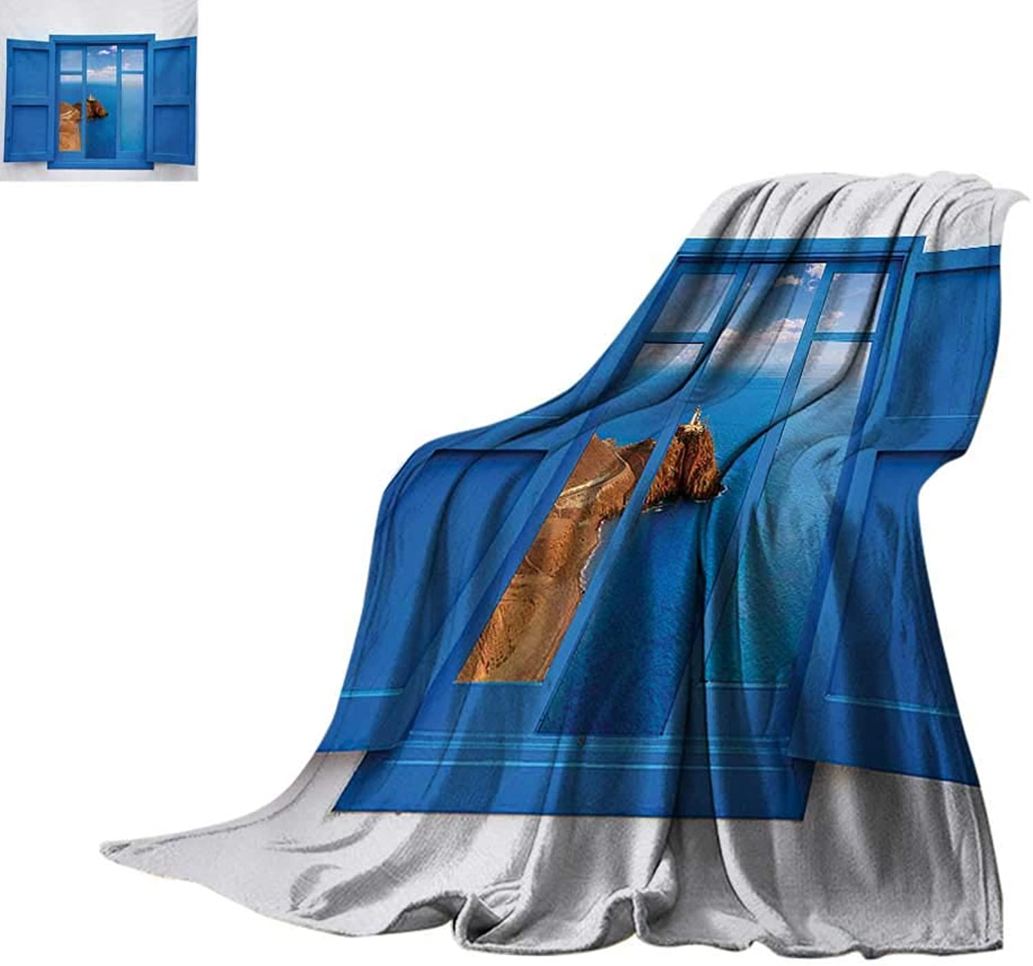Lighthouse Weave Pattern Blanket View from Window of Cabo Lighthouse Photo Mount Mediterranean Image Art Print Summer Quilt Comforter 60 x50  bluee White