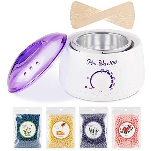 Wax Warmer Hair Removal Kit Electric Wax Melter Hot Wax Warmer Brazilian Wax Kit with 4 Different Flavors Wax Beans and 10 Wax Applicator Sticks for Women and Men