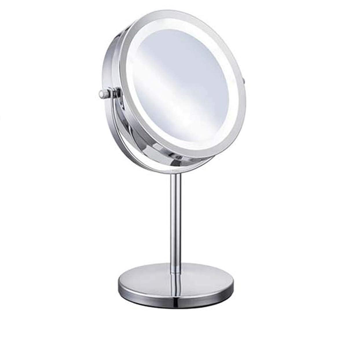 補助金修正カニLED照明化粧鏡、5X倍率はランプ表示で、デスクトップ両面拡大鏡メイクアップミラー、取り外し可能なバッテリ駆動の壁には、シェービング用ミラーをマウント
