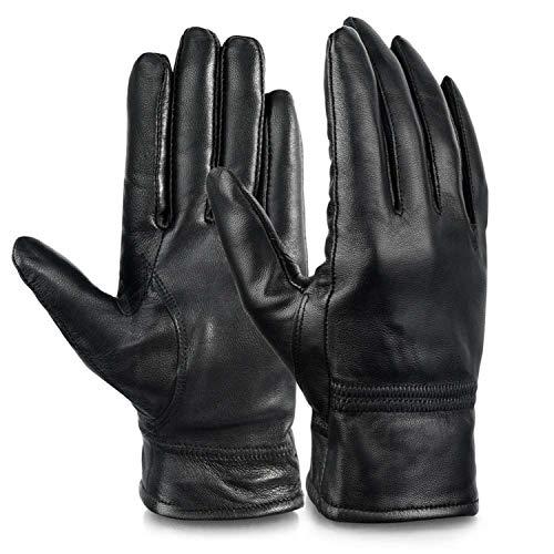 Damen Vollfinger-Handschuhe aus echtem Leder, Fleece-Futter, warm, Winter-Handschuhe für Radfahren, Fahren, Damen, Siehe Abbildung, Large