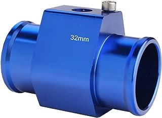 Dewhel Aluminum Blue Water Temp Meter Temperature Gauge Joint Pipe Radiator Sensor Adaptor Clamps 32mm