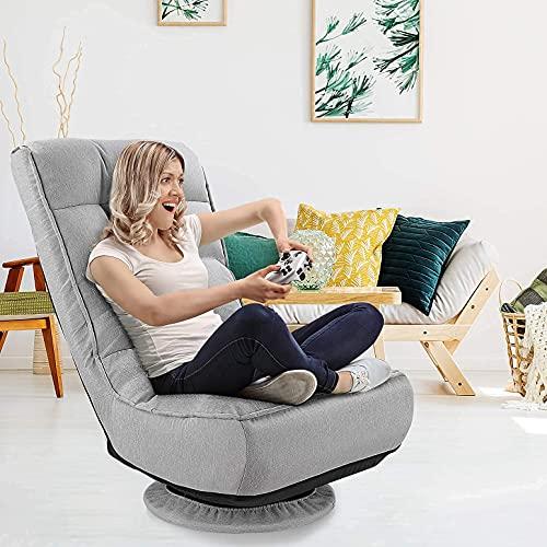 kealive Floor Gaming Chair,360 Degree Swivel Floor Chair, 4-Position Adjustable Gaming Floor Chair, 330lb Spring Support, Comfortable Folding Floor Chair for Adults, Teens, Kids, Grey