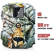 Olymbros Wildkamera Fotofalle Jagdkamera 1080P 16MP Weitwinkel Vision Infrarote 20m Bewegungsaktivierung Nachtsicht wasserdichte IP65 Überwachungskamera