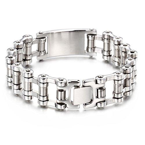 NELSON KENT Herren Edelstahl Wide Side Chain Armband
