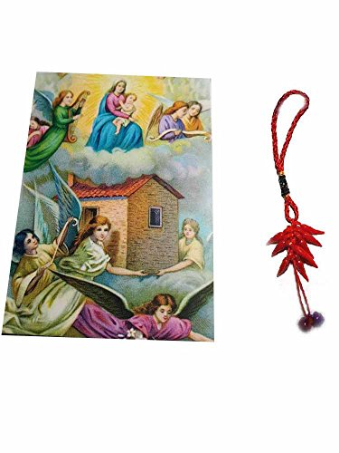 Artesanal ricevi 1imán religiosa Santini 5x 7cm imán Color Virgen del Loreto y un llavero incluye amuleto Corni