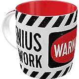 Nostalgic-Art Taza de café Retro Achtung – Genius at Work – Idea de Regalo para Gamers, Cerámica, Divertido diseño Vintage con Frase, 8.5 x 13 x 9 cm