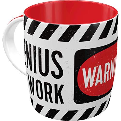 Nostalgic-Art Retro Kaffee-Becher - Achtung - Genius at Work, Lustige große Retro Tasse mit Spruch, Geschenk-Idee für Genies, 330 ml