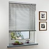 OBI Alu-Jalousie Burgos Aluminiumjalousie Jalousette Innenjalousie Fenstervorhang Aluminiumlamellen | Silber | 80 x 160 cm