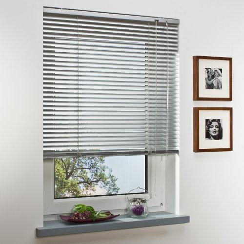 OBI Alu-Jalousie Burgos Aluminiumjalousie Jalousette Innenjalousie Fenstervorhang Aluminiumlamellen | Silber | 70 x 160 cm