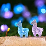 Holitown 3D Alpacas Lama Indoor String Lights Decorations,10FT 30 LEDs Blue Pink Animal Fairy Lighting Decor, USB Plug-in and Battery Powered with Remote for Bedroom Wedding Party