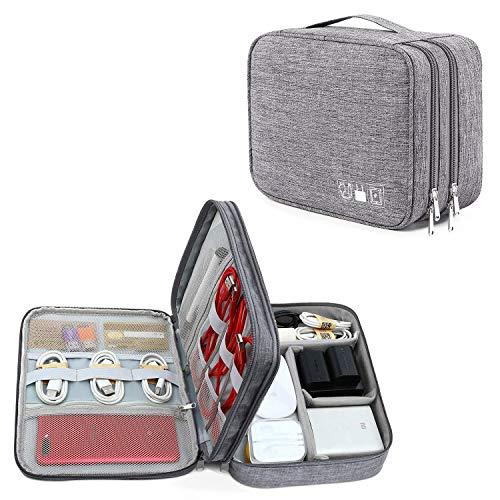 VEIYI Elektronik Organizer Tasche Tragbare Elektronik Zubehör Tasche Universaltasche Kabelorganizer Etui Kabel Organizer Aufbewahrungstasche für Kabel, Kindle, USB, Festplatte, Power Bank - Grau