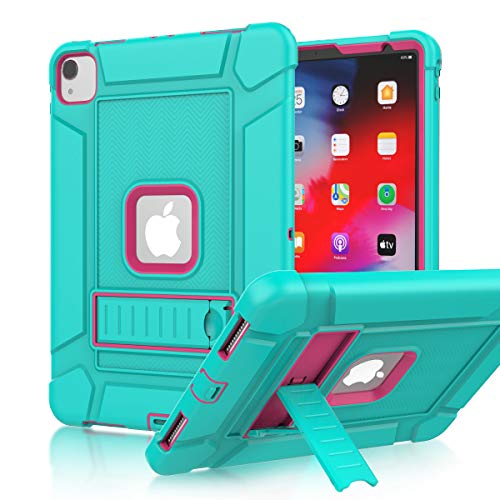 LEDNICEKER iPad Pro 11 Case 2020/2018, iPad Pro 11 inch case, Heavy Duty Shockproof Rugged Full-Body Drop Protection Stand Case Cover for iPad Pro 11 2020 (2nd gen)/2018 (1st gen)-Turquoise and Rose