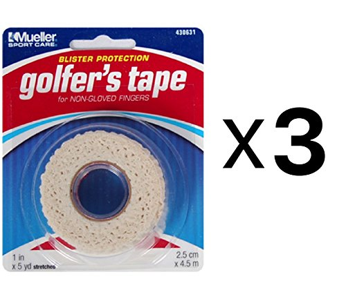 Mueller Golfer's Conforming Elastic Protective Finger Grip Tape 1'x5yd (3-Pack)