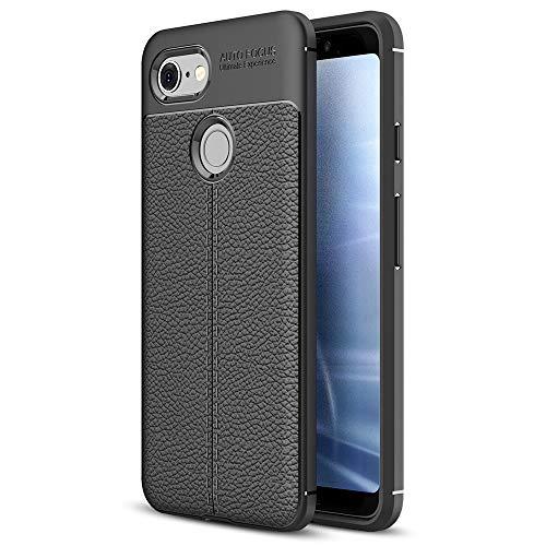 NALIA Leder-Erscheinungsbild Handyhülle kompatibel mit Google Pixel 3 XL, Ultra-Slim Hülle Silikon Hülle Cover, Dünne Phone Schutzhülle, Stoßfeste Etui Handy-Tasche Backcover Bumper Gummihülle - Schwarz