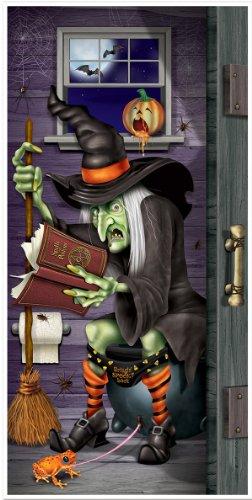 Décoration de porte sorcière au toilette Halloween - taille - Taille Unique - 213395