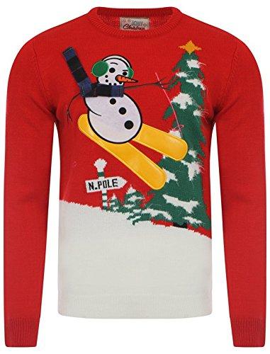 Vrolijk Kerstmis Mens Skiën Frosty Snowman Jumper