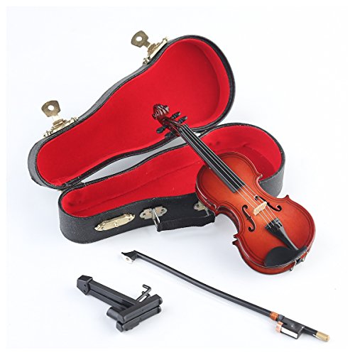 Wooden Miniature Violin with Stand,Bow and Case
