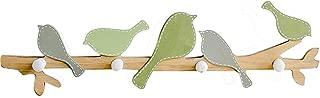 Bonaweite European Retro Style Hanger Organizer DIY Simple Hook Green Bird Hook Wood Coat SundriesTools Hanger Wall Mounts Room