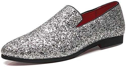 Zapatos Hombre Ocio Conducción De Los Holgazanes Hombres Fumadores Zapatillas Penny Slip-on Del Brillo De Las Lentejuelas Punta Estrecha Piel De Microfibra Antideslizante Ligero (Color: Negro, Tamaño: