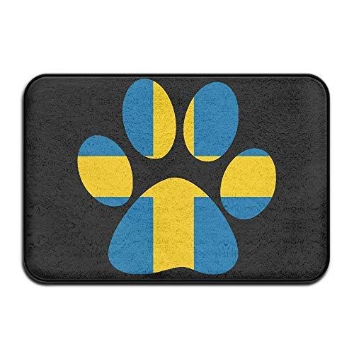 Swedish Flag Dog Paw Non-Slip Outside/Inside Door Mat Rug for Health and Wellness Kitchen Hallway Bath Office Bathroom Doormat 23.6'x 15.7'