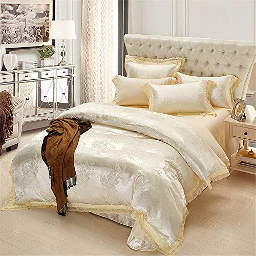 Fengbingl-hm Tröster Bettwäsche Set Vier Sätze von Bett-Bettwäsche-Satz von Vier Baumwolle Hochwertiger mit hoher Dichte gebürsteter Bettwäsche-Kissenbezug passend für Hauptinnenraum (Größe : 2m)