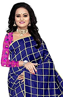 Shree Brahmani Fashion Women's Panetar Embroidered Saree with Blouse Piece (Blue with Pink Colour Fee Size)