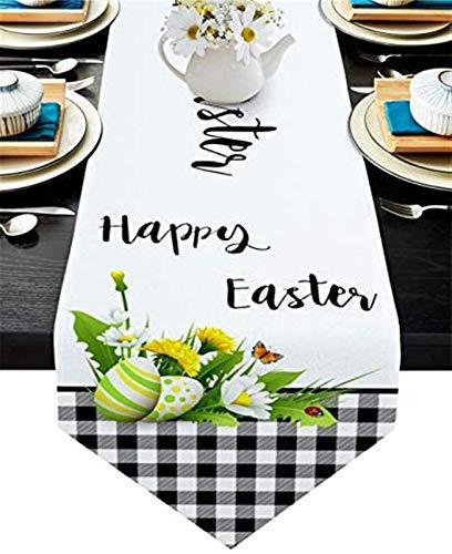 VJRQM Chemin de Table Basse Joyeuses Pâques Fleur Noir Blanc Buffalo Plaid Chemin de Table en Toile de Jute 72 Pouces de Long pour Le dîner de fête d'anniversaire de Banquet de Vacances de Ferme