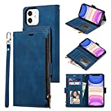 Trugox Zipper Wallet Case for Apple iPhone 12 / iPhone 12 Pro Phone Case Leather with Wallet Purse Credit Card Holder Magnetic Stand Book Flip Folio Case Cover Women Shockproof - Blue
